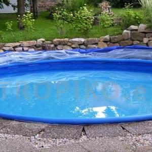 Zastřešení bazénu TROPIKO pro delší koupání, teplý bazén a čistou vodu jako azuro. Pro nadzemní i zapuštěné (kruhové / kulaté) zahradní bazény.